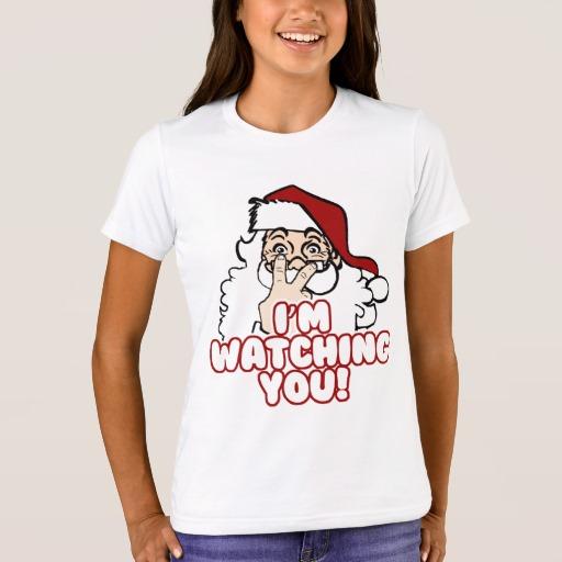 Santa I'm Watching You Girls' Bella+Canvas Crew T-Shirt
