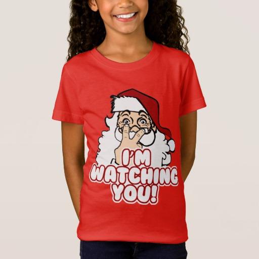 Santa I'm Watching You Girls' Fine Jersey T-Shirt