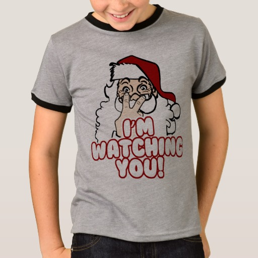 Santa I'm Watching You Kids' Basic Ringer T-Shirt