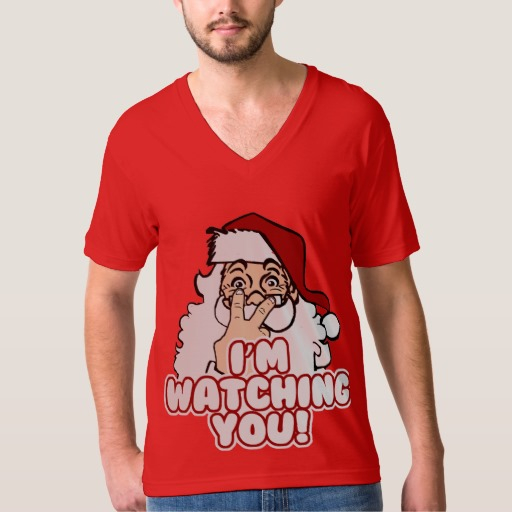 Santa I'm Watching You Men's American Apparel Fine Jersey V-neck T-Shirt