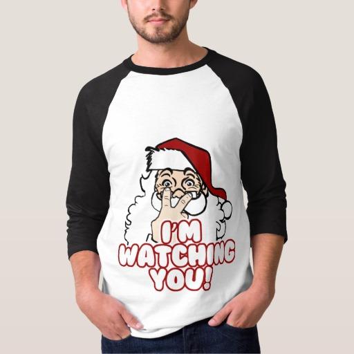 Santa I'm Watching You Men's Basic 3/4 Sleeve Raglan T-Shirt