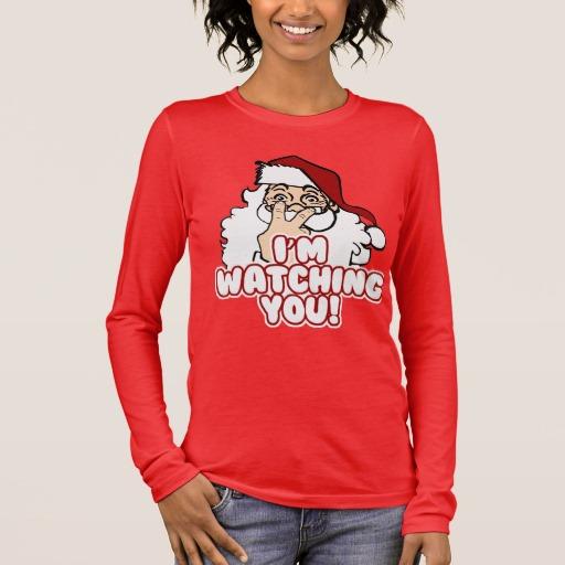 Santa I'm Watching You Women's Bella+Canvas Long Sleeve T-Shirt