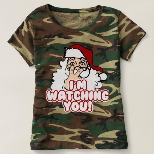 Santa I'm Watching You Women's Camouflage T-Shirt