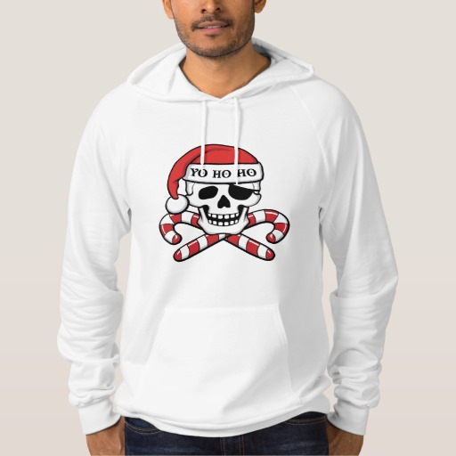 Christmas Pirate Skull American Apparel California Fleece Pullover Hoodie
