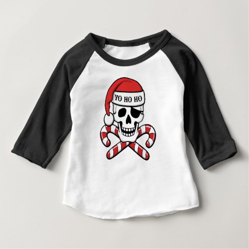 Christmas Pirate Skull Baby American Apparel 3/4 Sleeve Raglan T-Shirt
