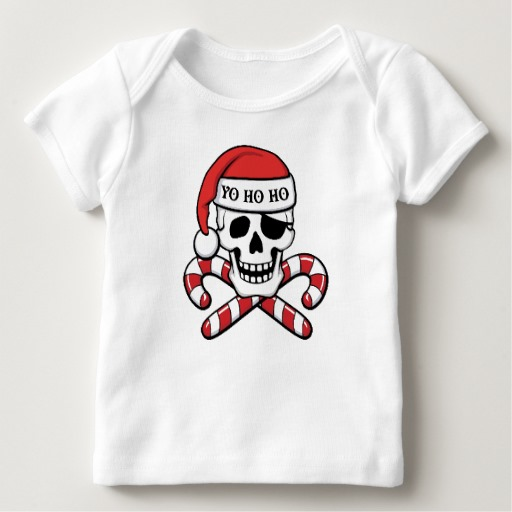 Christmas Pirate Skull Baby American Apparel Lap T-Shirt