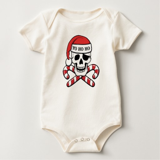 Christmas Pirate Skull Baby American Apparel Organic Bodysuit