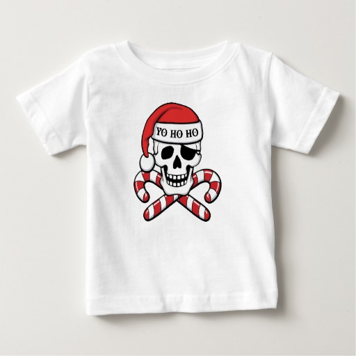 Christmas Pirate Skull Baby Fine Jersey T-Shirt