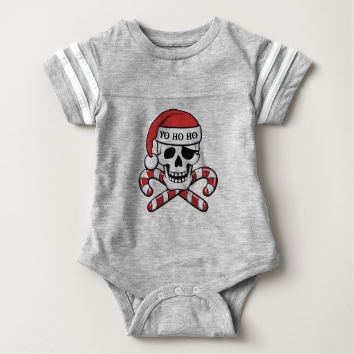 Christmas Pirate Skull Baby Football Bodysuit