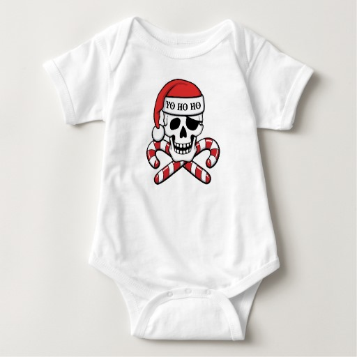 Christmas Pirate Skull Baby Jersey Bodysuit