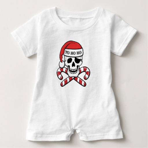 Christmas Pirate Skull Baby Romper