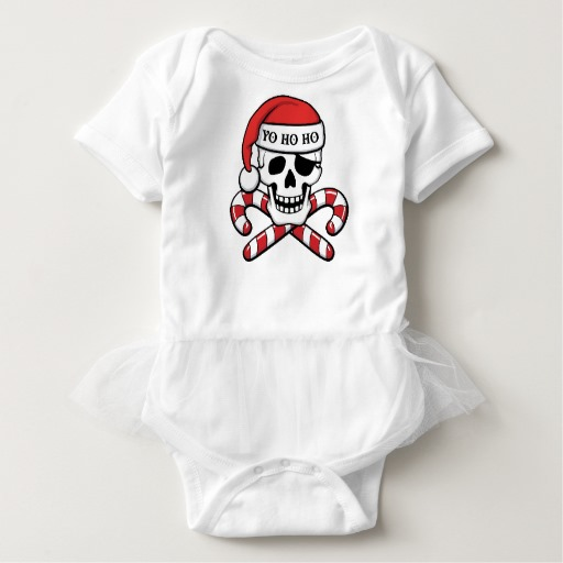Christmas Pirate Skull Baby Tutu Bodysuit