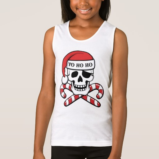 Christmas Pirate Skull Girls' Fine Jersey Tank Top
