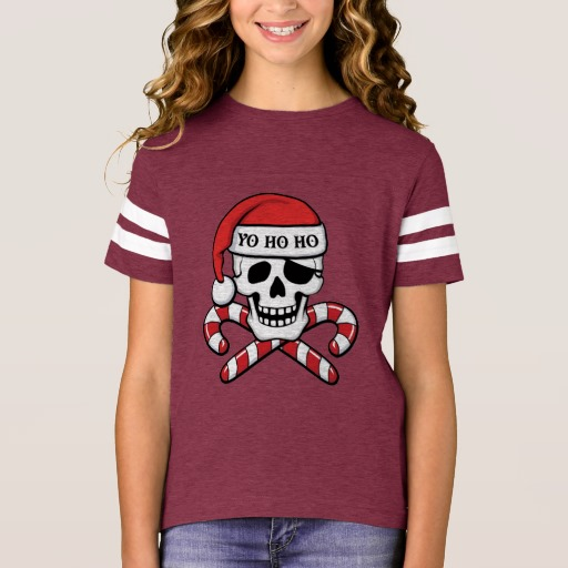 Christmas Pirate Skull Girls' Football Shirt