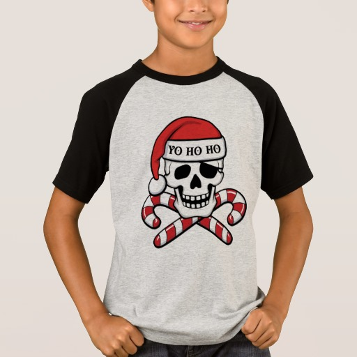 Christmas Pirate Skull Kids' Short Sleeve Raglan T-Shirt
