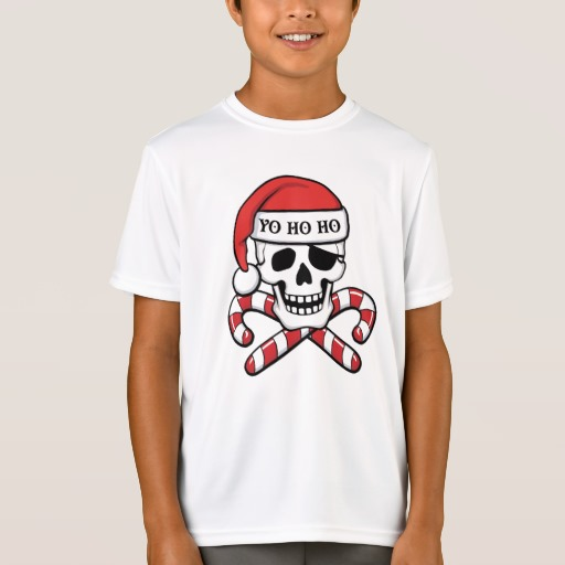 Christmas Pirate Skull Kids' Sport-Tek Competitor T-Shirt