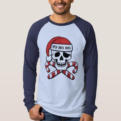Christmas Pirate Skull Men's Canvas Long Sleeve Raglan T-Shirt