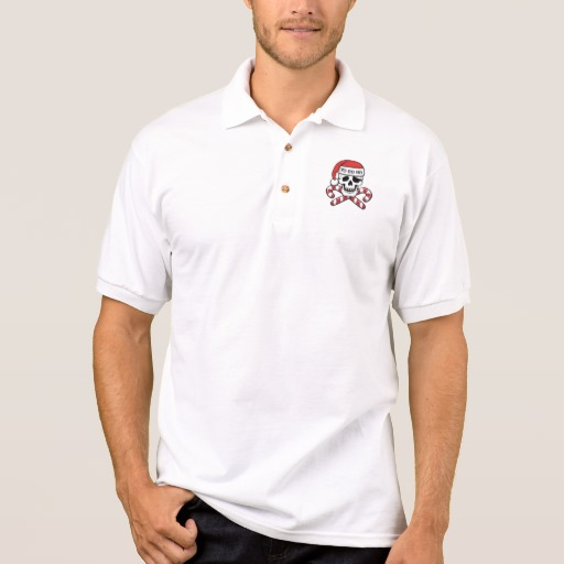 Christmas Pirate Skull Men's Gildan Jersey Polo Shirt