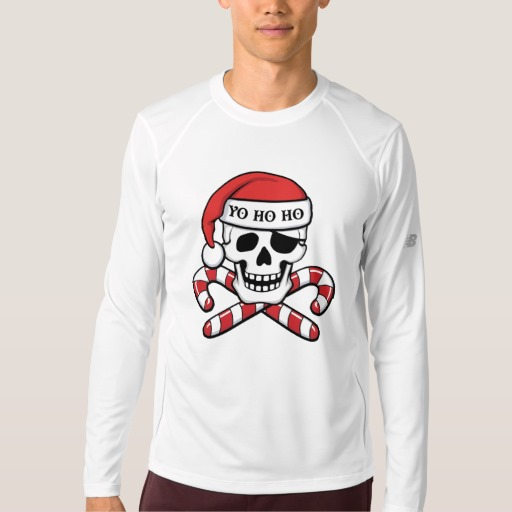 Christmas Pirate Skull Men's New Balance Long Sleeve T-Shirt