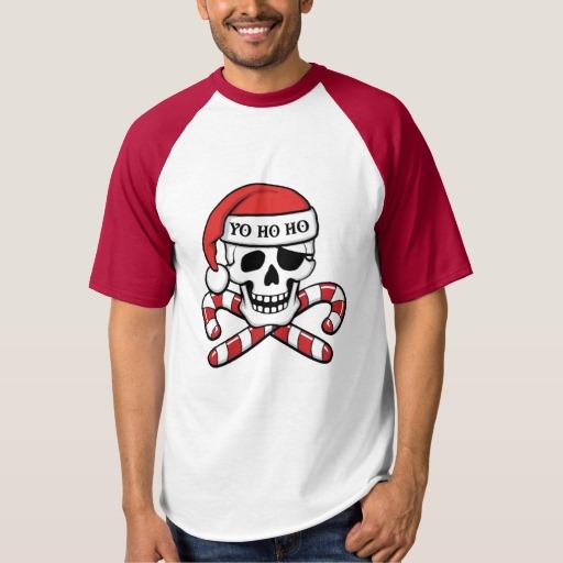 Christmas Pirate Skull Men's Raglan Baseball T-Shirt