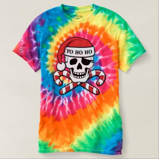Christmas Pirate Skull Men's Spiral Tie-Dye T-Shirt