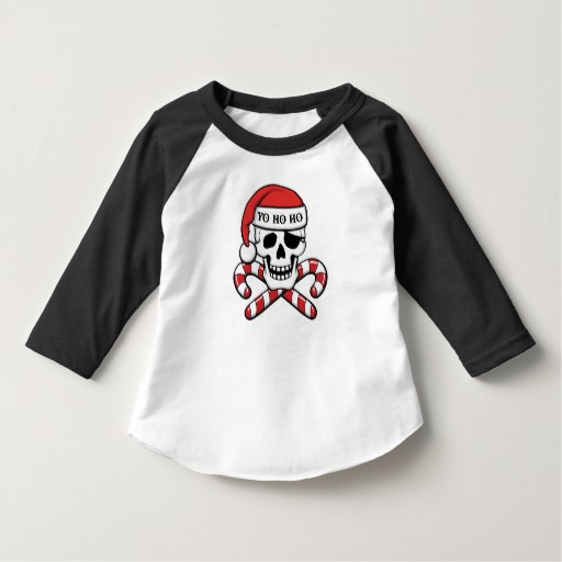 Christmas Pirate Skull Toddler American Apparel 3/4 Sleeve Raglan T-Shirt