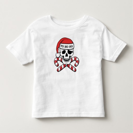Christmas Pirate Skull Toddler Fine Jersey T-Shirt