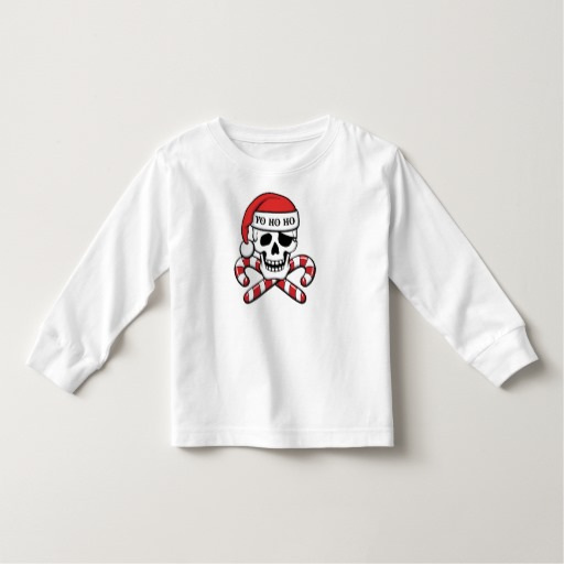 Christmas Pirate Skull Toddler Long Sleeve T-Shirt