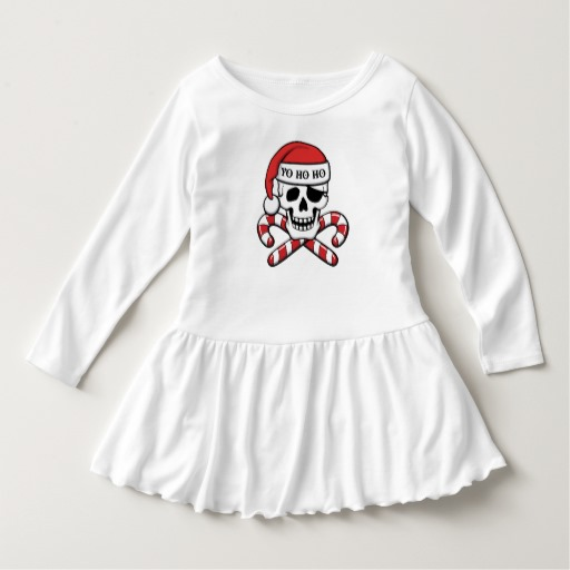 Christmas Pirate Skull Toddler Ruffle Dress
