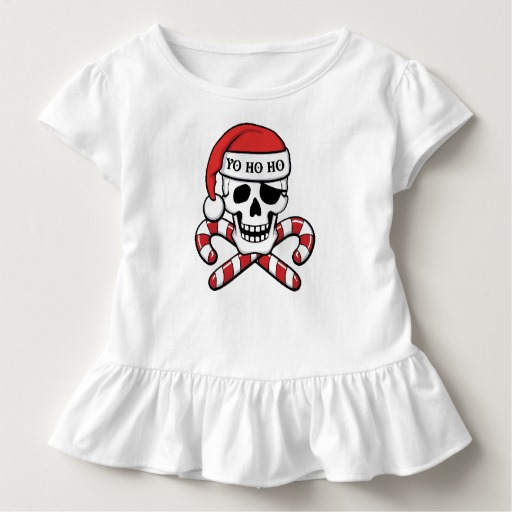 Christmas Pirate Skull Toddler Ruffle Tee