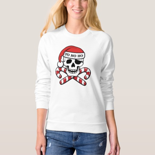 Christmas Pirate Skull Women's American Apparel Raglan Sweatshirt