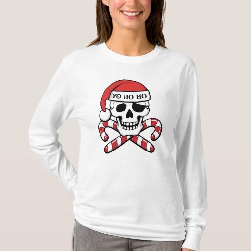 Christmas Pirate Skull Women's Basic Long Sleeve T-Shirt