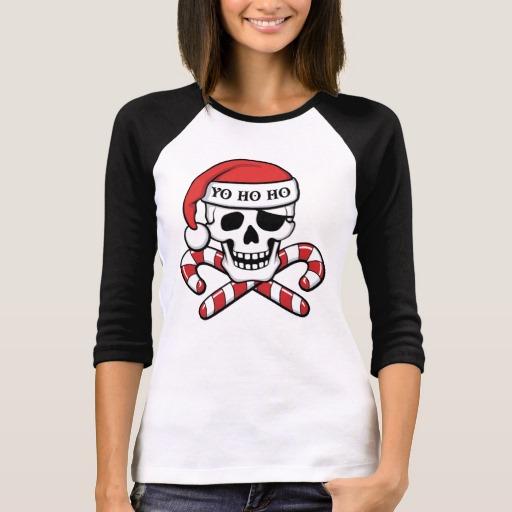 Christmas Pirate Skull Women's Bella+Canvas 3/4 Sleeve Raglan T-Shirt