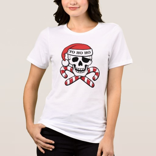 Christmas Pirate Skull Women's Bella+Canvas Relaxed Fit Jersey T-Shirt