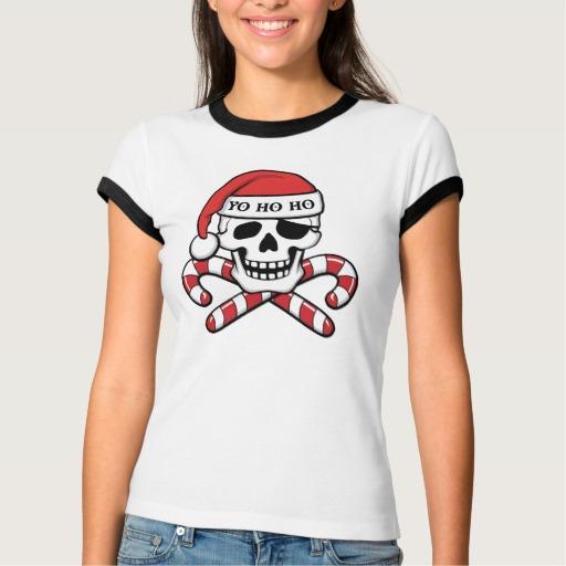 Christmas Pirate Skull Women's Bella+Canvas Ringer T-Shirt