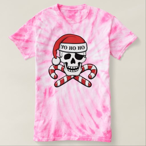 Christmas Pirate Skull Women's Cyclone Tie-Dye T-Shirt