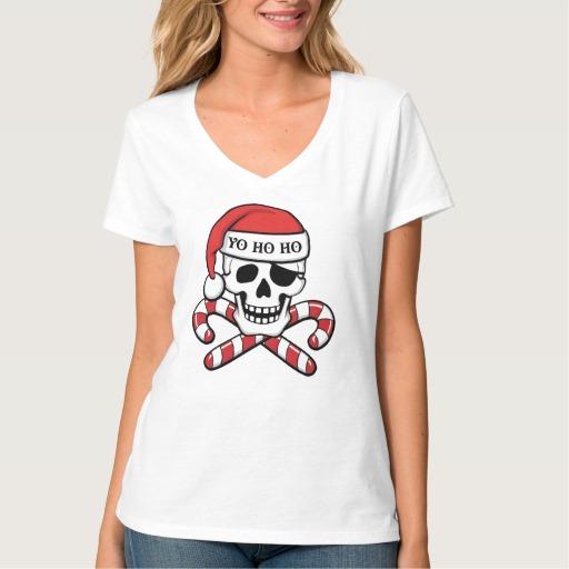 Christmas Pirate Skull Women's Hanes Nano V-Neck T-Shirt