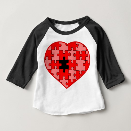 Heart Puzzle Missing a Piece Baby American Apparel 3/4 Sleeve Raglan T-Shirt