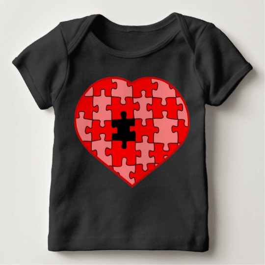 Heart Puzzle Missing a Piece Baby American Apparel Lap T-Shirt