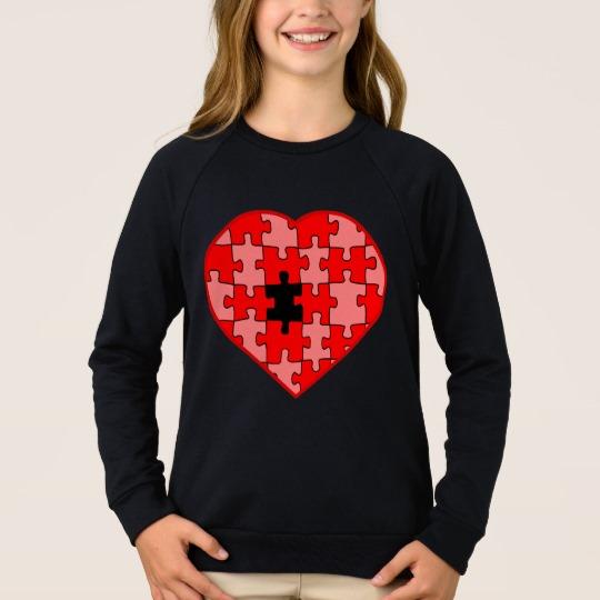 Heart Puzzle Missing a Piece Girls' American Apparel Raglan Sweatshirt