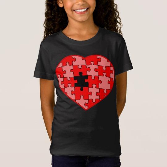 Heart Puzzle Missing a Piece Girls' Fine Jersey T-Shirt