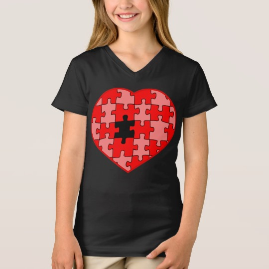 Heart Puzzle Missing a Piece Girls' Fine Jersey V-Neck T-Shirt