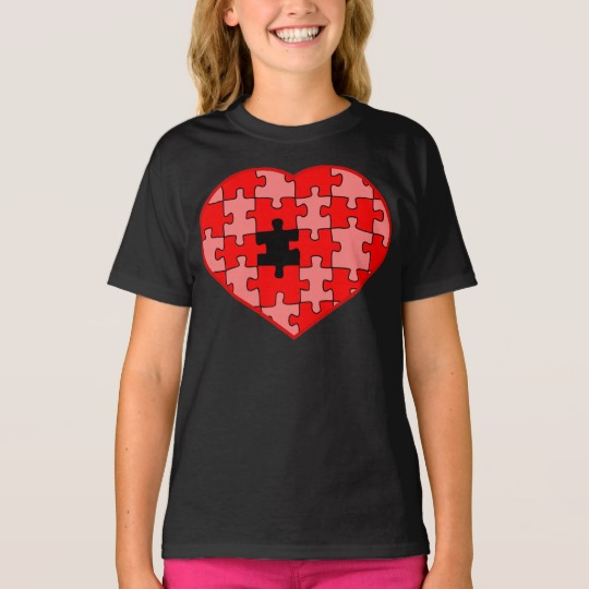 Heart Puzzle Missing a Piece Girls' Hanes TAGLESS® T-Shirt