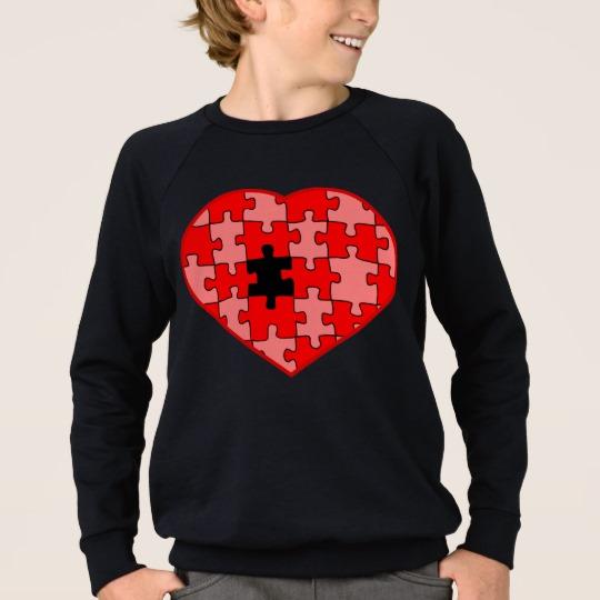 Heart Puzzle Missing a Piece Kids' American Apparel Raglan Sweatshirt