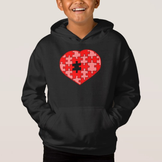 Heart Puzzle Missing a Piece Kids' Fleece Pullover Hoodie