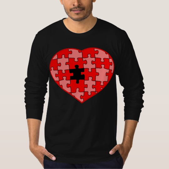 Heart Puzzle Missing a Piece Men's American Apparel Fine Jersey Long Sleeve T-Shirt