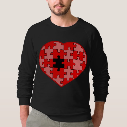 Heart Puzzle Missing a Piece Men's American Apparel Raglan Sweatshirt