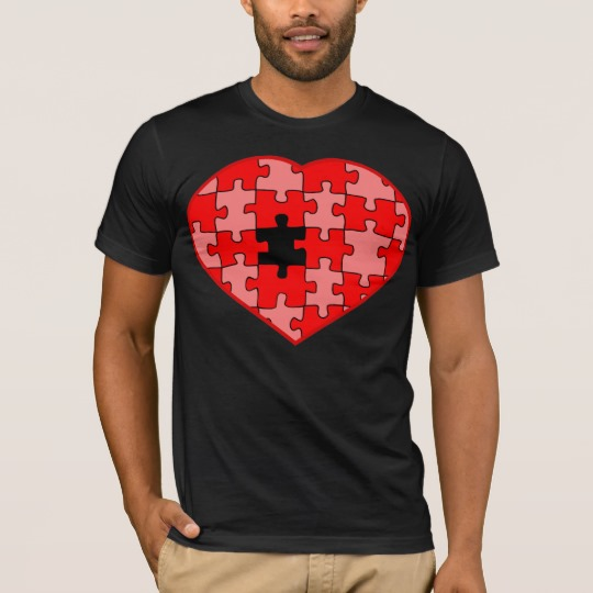 Heart Puzzle Missing a Piece Men's Basic American Apparel T-Shirt