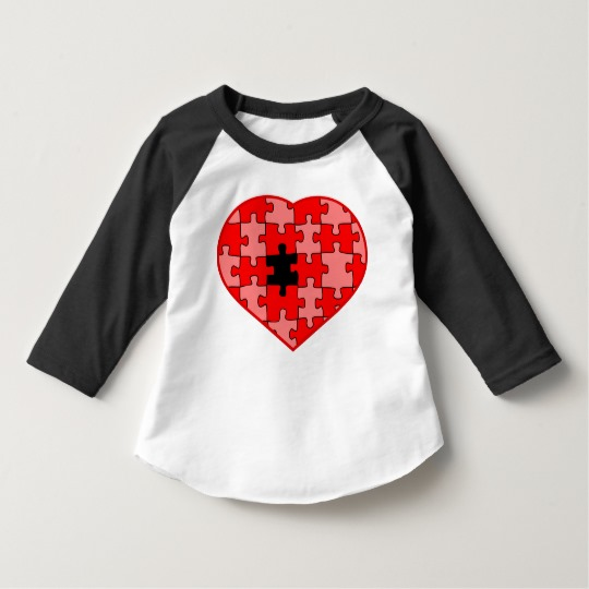 Heart Puzzle Missing a Piece Toddler American Apparel 3/4 Sleeve Raglan T-Shirt