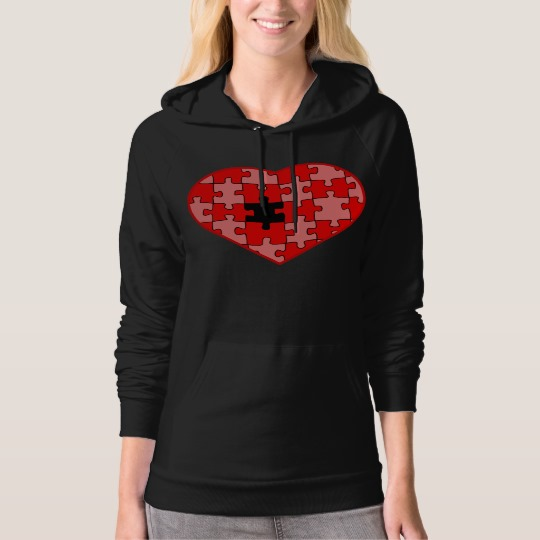 Heart Puzzle Missing a Piece Women's American Apparel California Fleece Pullover Hoodie
